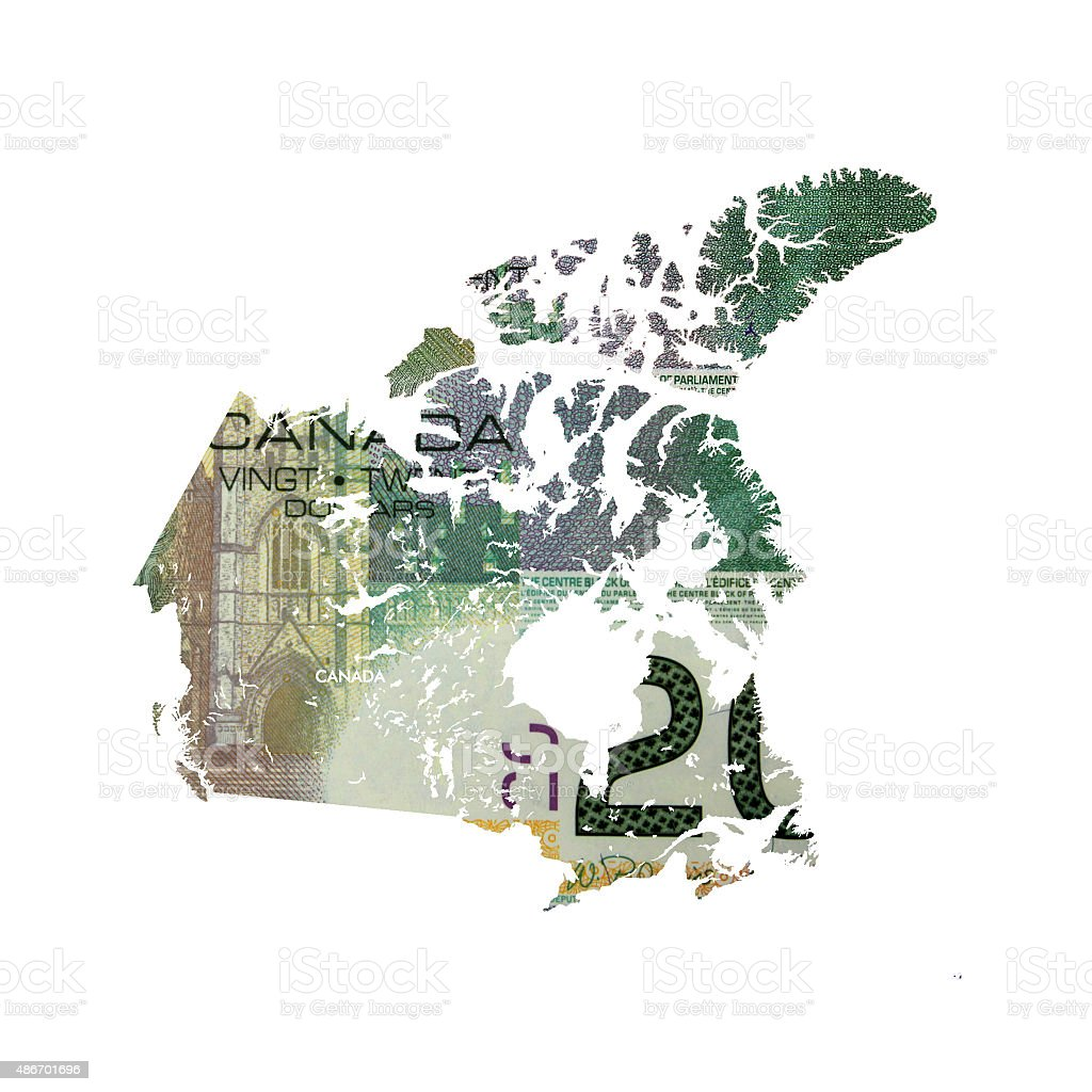 Map of Canada in 20 canadian dollar bill stock photo