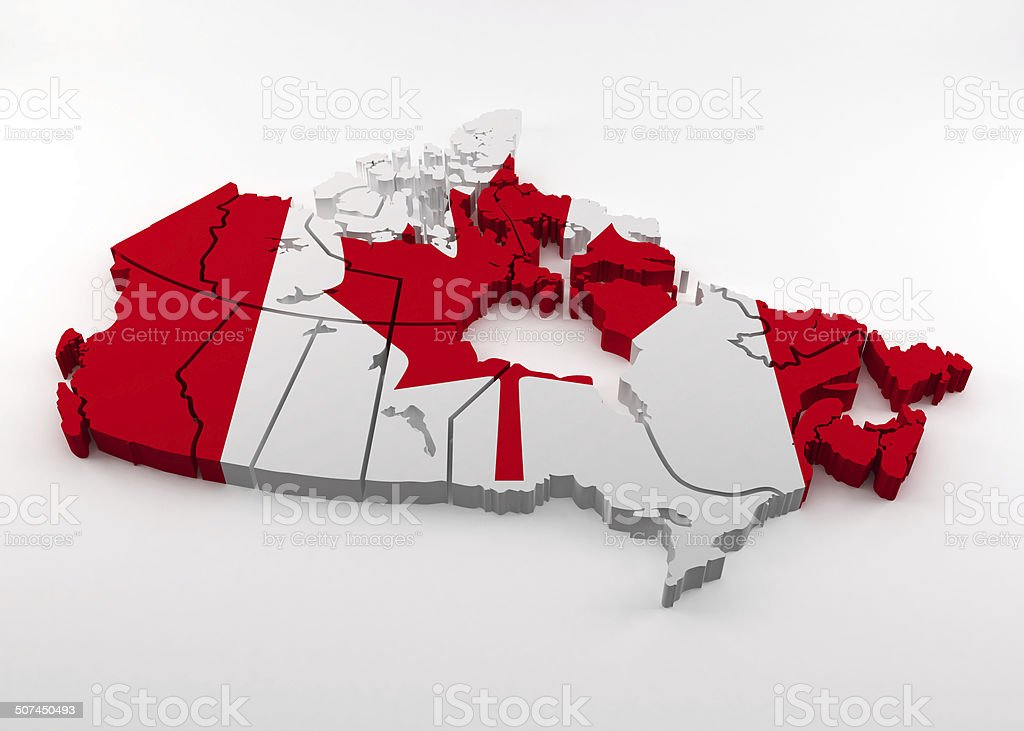 Map of Canada in Canadian flag colors stock photo