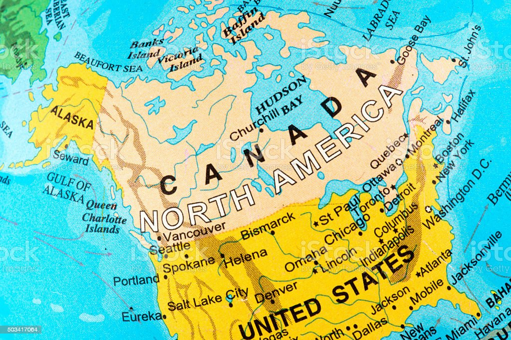 Map of Canada in North America stock photo
