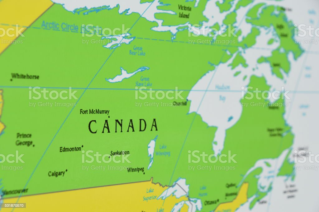 Map of Canada stock photo
