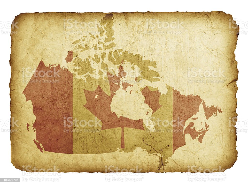 Map Of Canada With Flag On Grunge Paper royalty-free stock photo