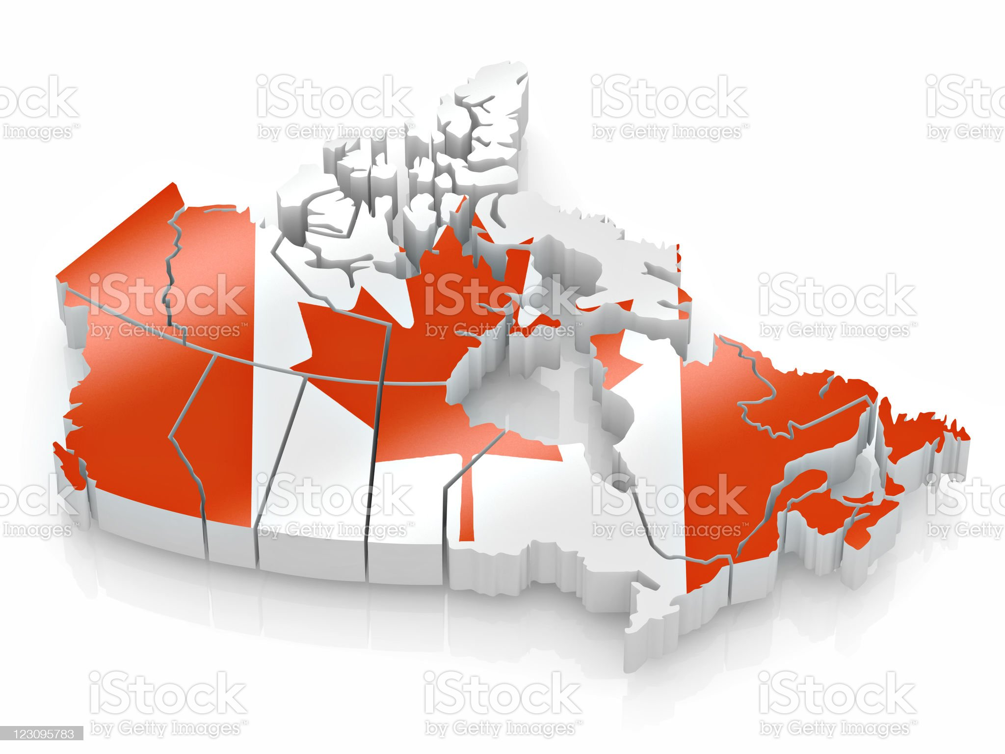 Map of Canada with the Canadian flag covering it royalty-free stock photo