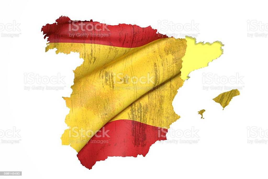 Map of Catalonia and Spain flag stock photo