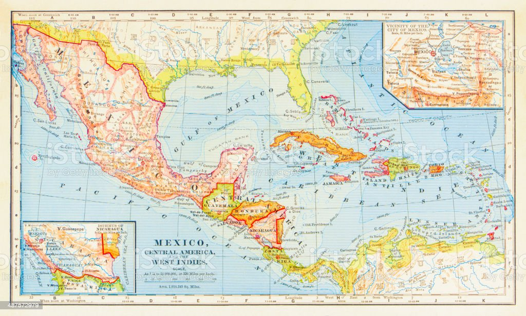 1883 Map Of Central America stock photo