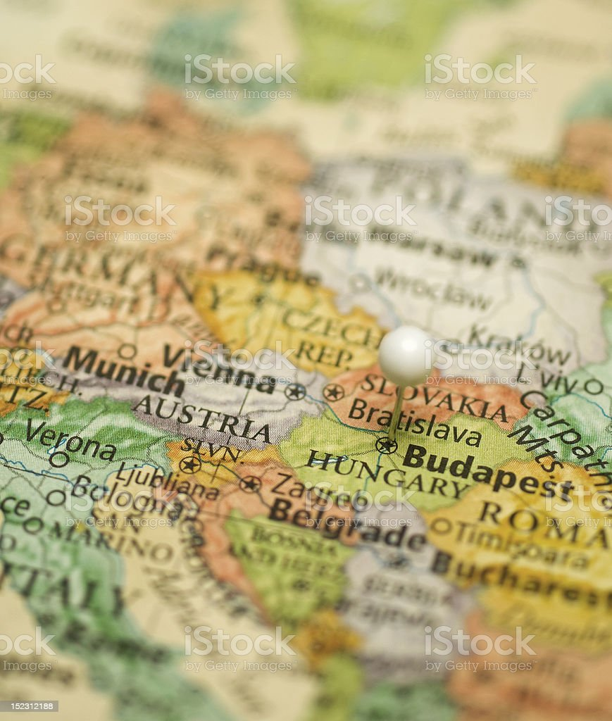 Map Of Central Europe With Austria,Hungary,Italy,Germany,Slovakia stock photo