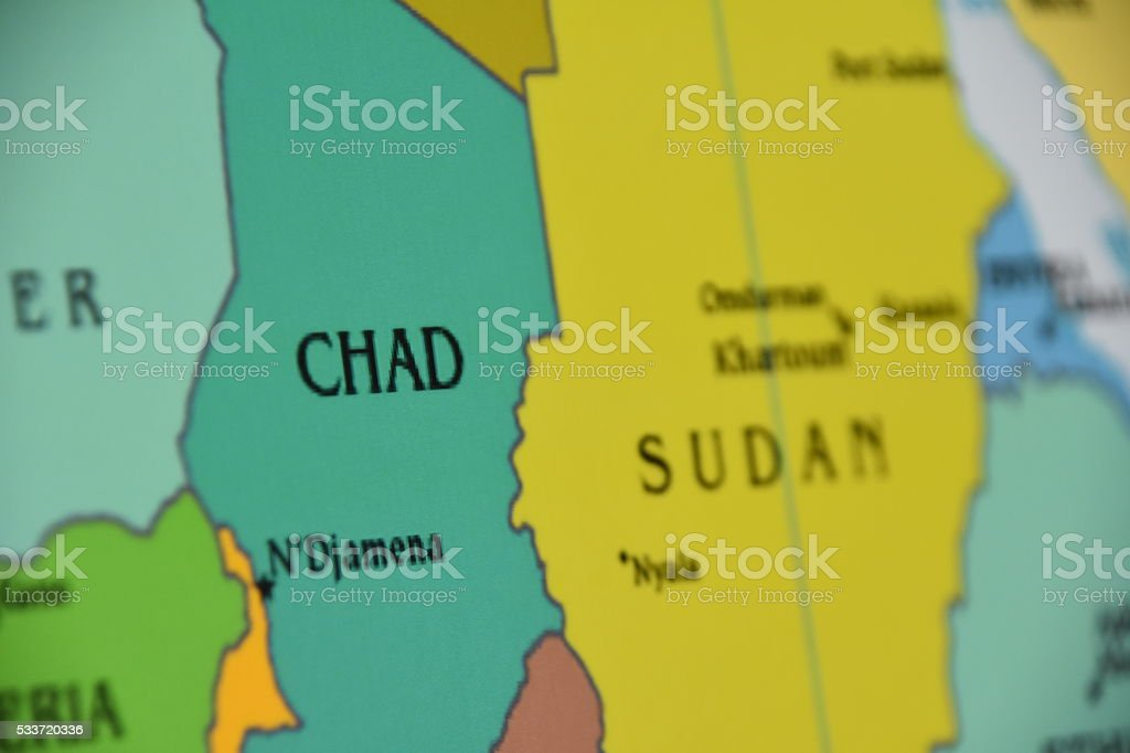 Map of chad stock photo