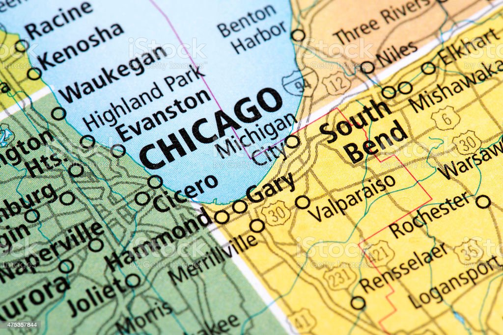 Map of Chicago, Illinois State in USA stock photo