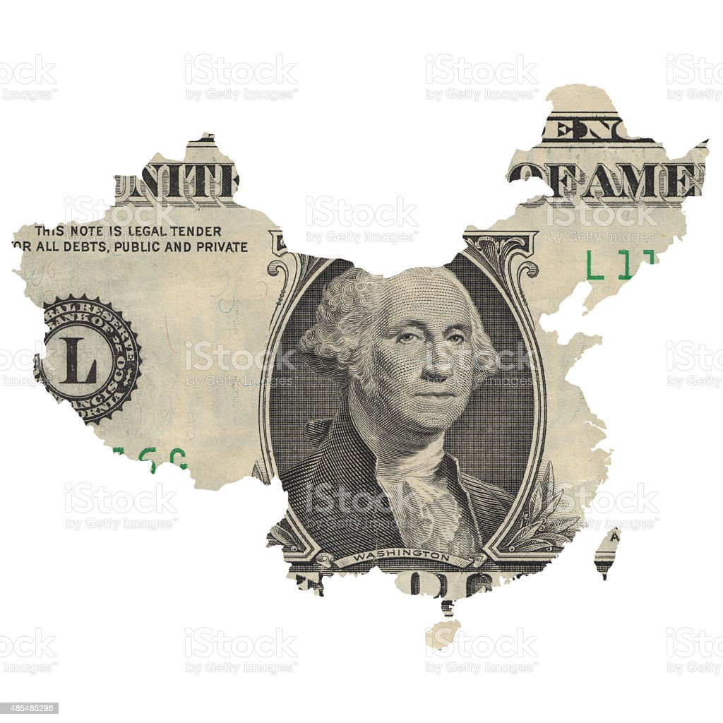 Map of China covered with dollar bill stock photo