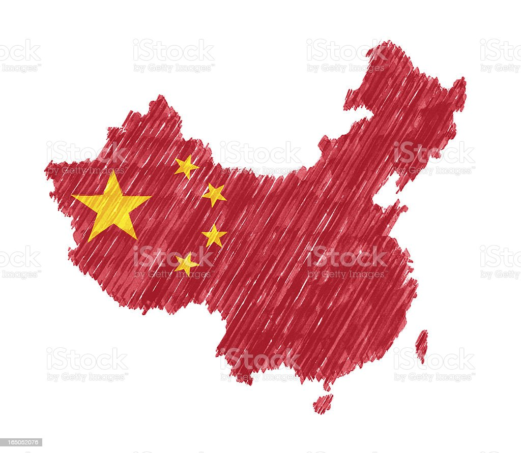 Map of China with Brush Stroke isolated on white background stock photo