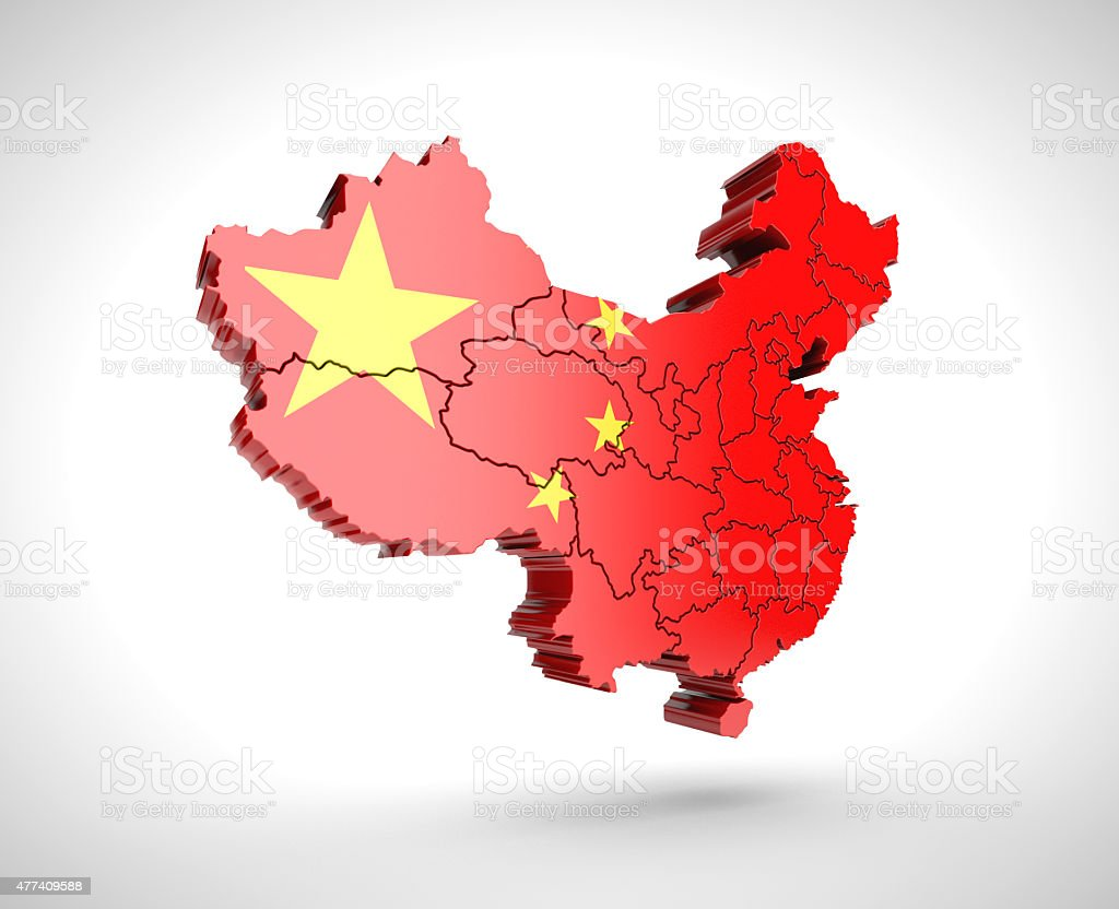 Map of China with drop shadow on gray background. stock photo