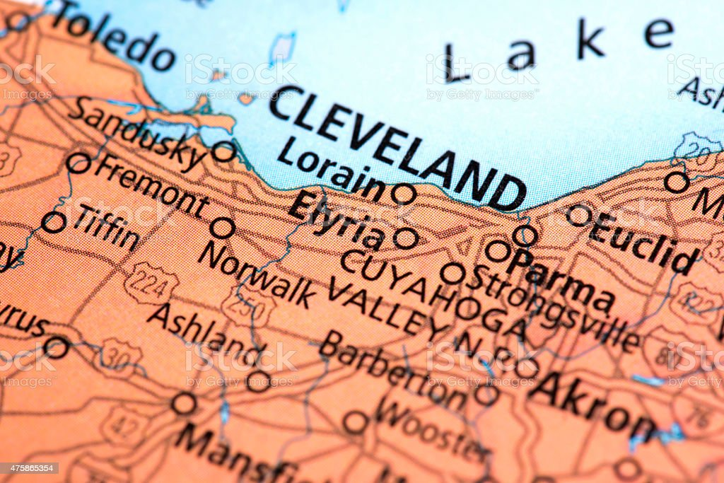 Map of Cleveland in Ohio State, USA stock photo