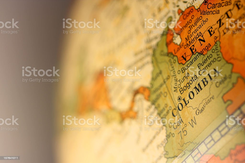 Map of Colombia and Venezuela royalty-free stock photo