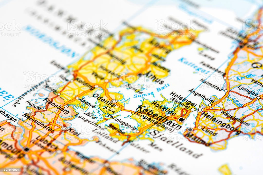 Map of Copenhagen, Denmark stock photo