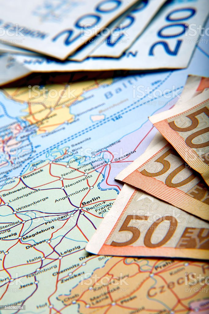 Map Of Countries And Currency stock photo