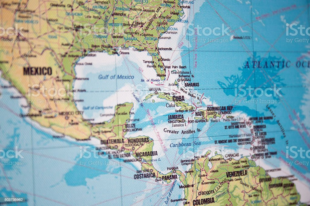 Map of Cuba and Central America stock photo