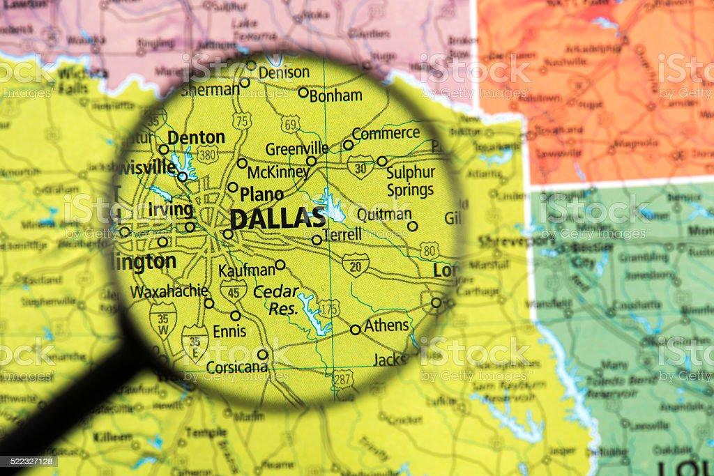 Map of Dallas stock photo