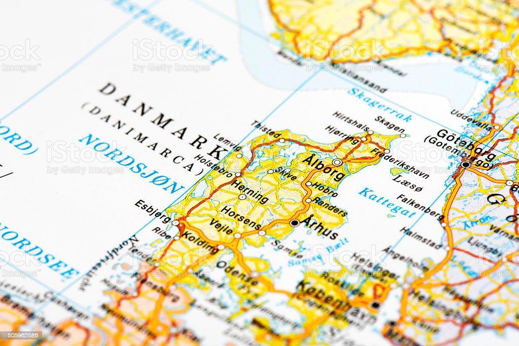 Map of Denmark stock photo