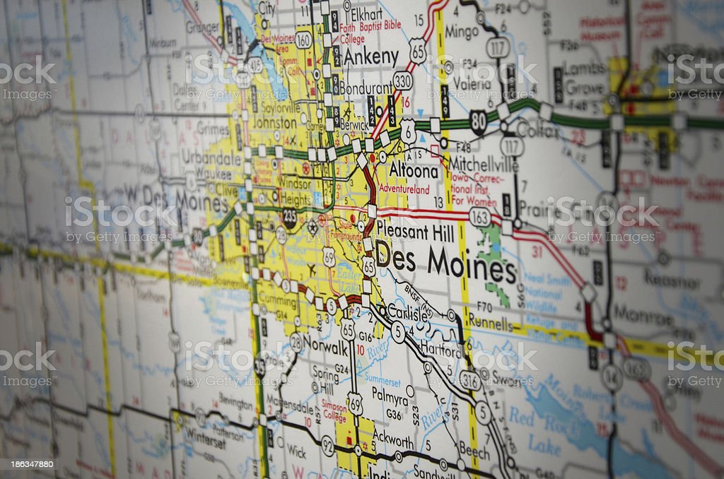 Map of Des Moines, Iowa stock photo