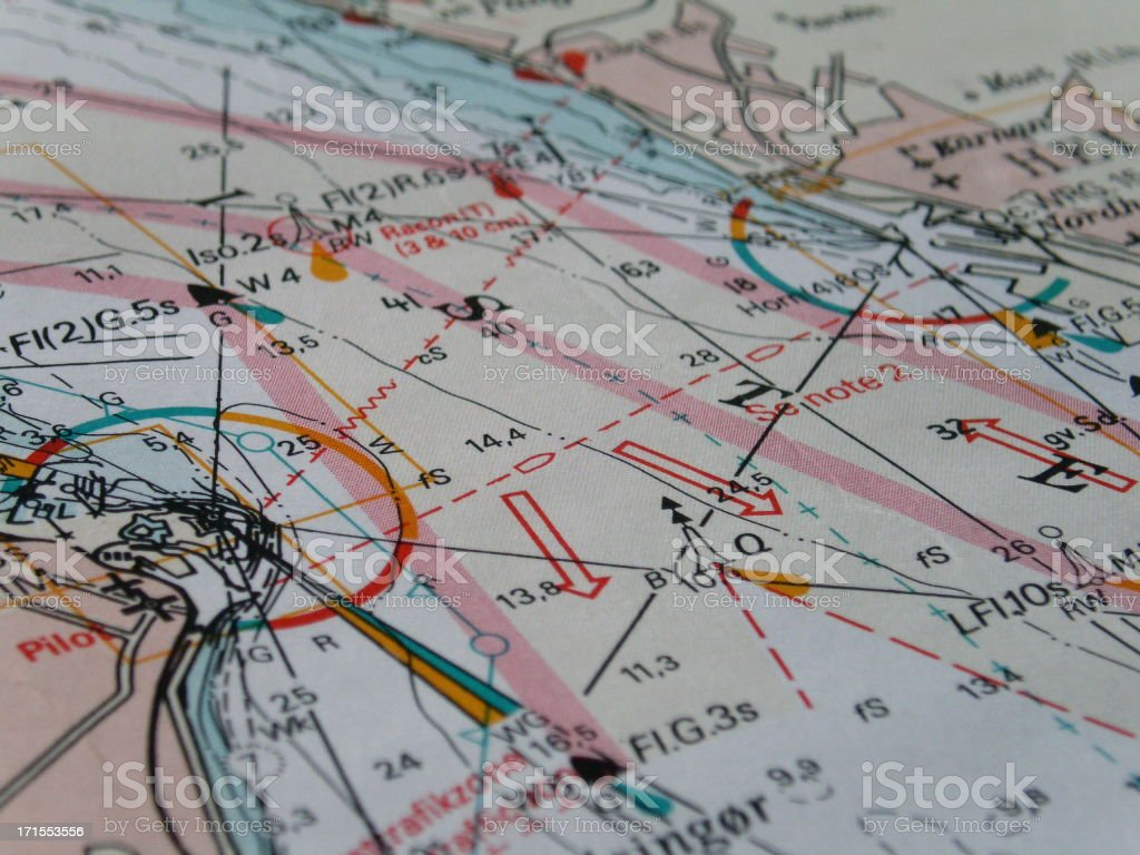 Map of direction for pilot training royalty-free stock photo