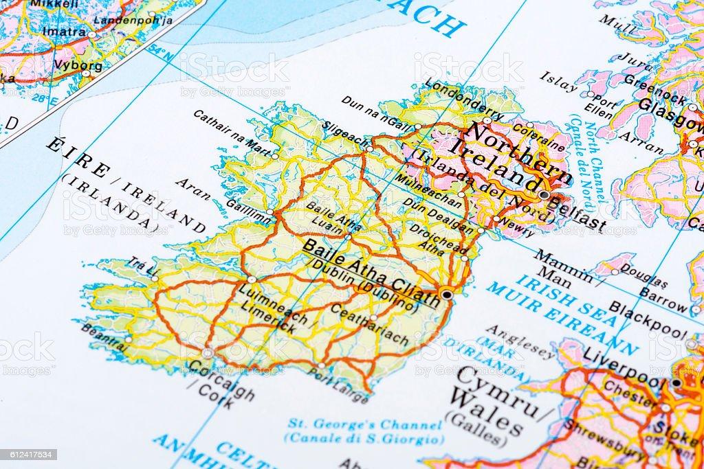 Map of Dublin, Ireland stock photo