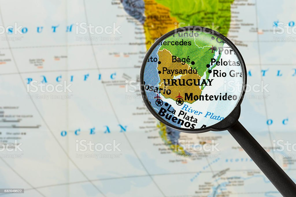 map of Eastern Republic of Uruguay stock photo