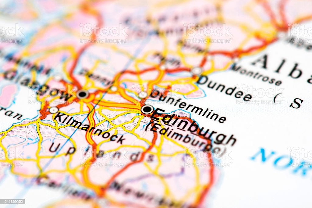 Map of Edinburgh, Scotland stock photo