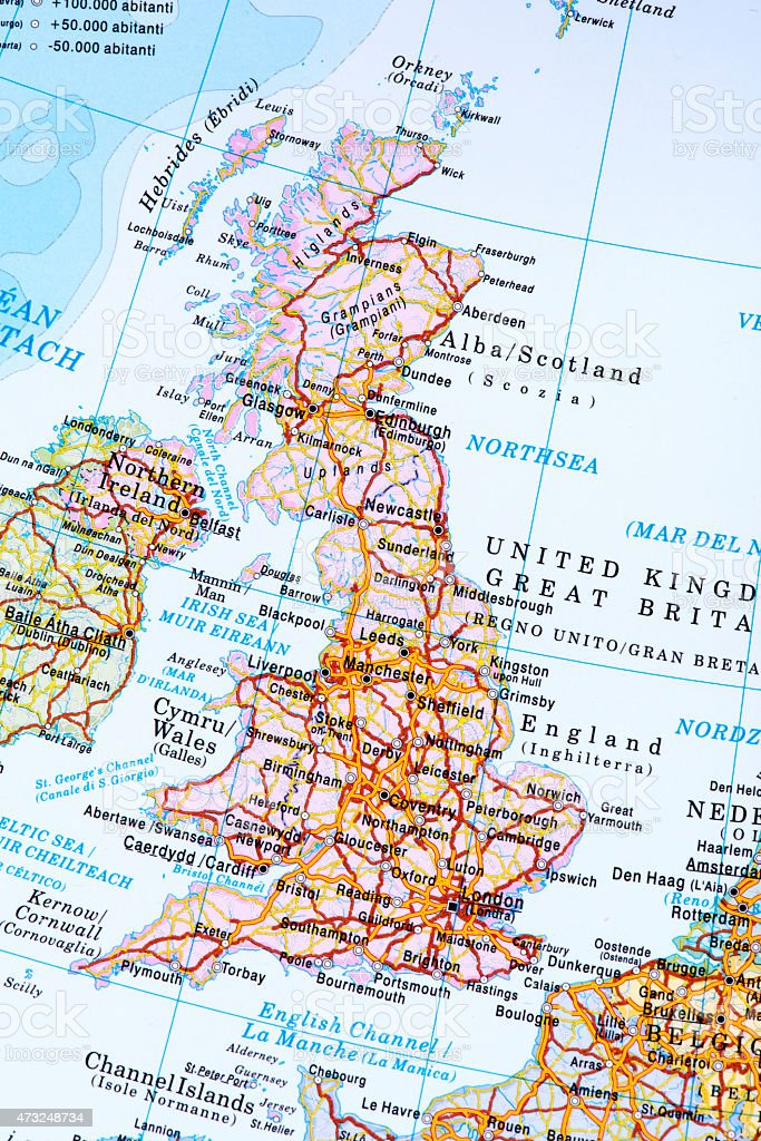 Map of England stock photo