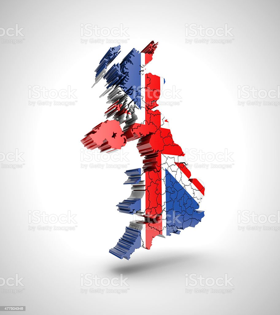 Map of England with drop shadow on gray background. royalty-free stock photo