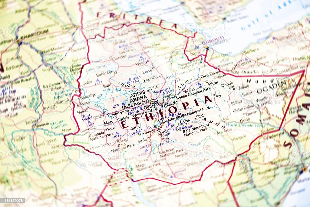 Map of Ethiopia stock photo