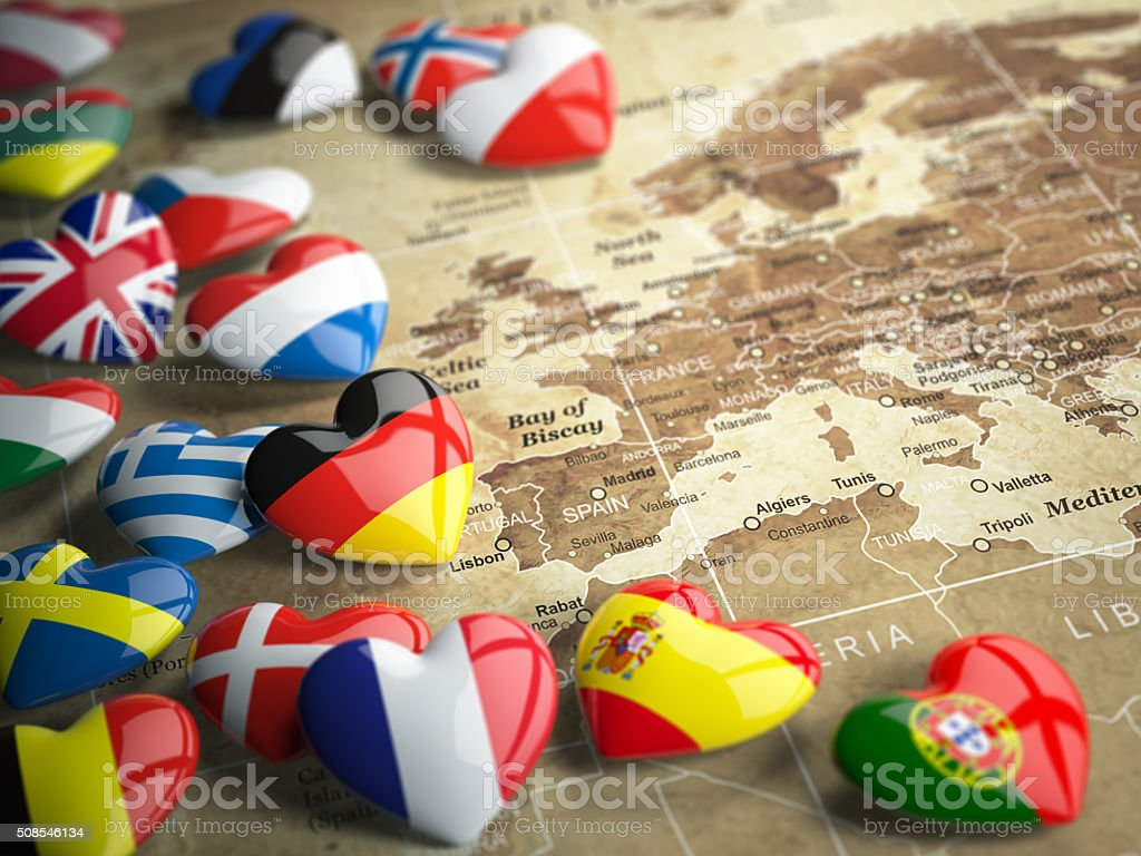 Map of Europe and hearts with flags of european countries. Travel EU...
