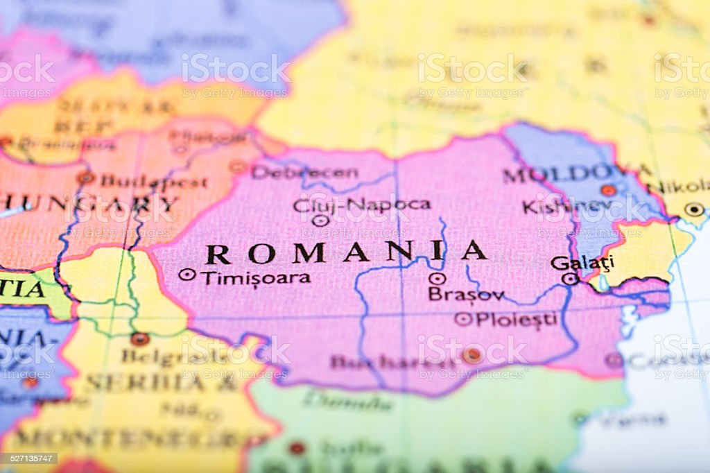 Map of Europe centered on Romania stock photo