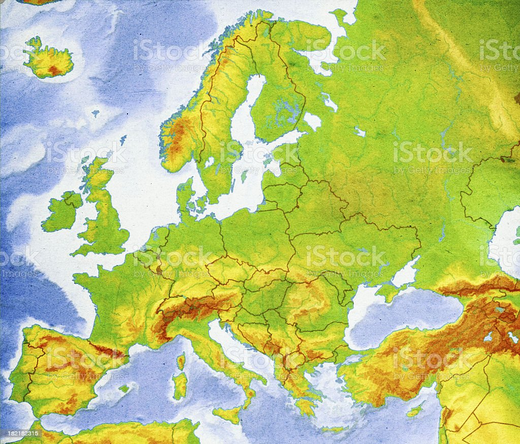 Map of Europe Close-Up (High Resolution Image) stock photo