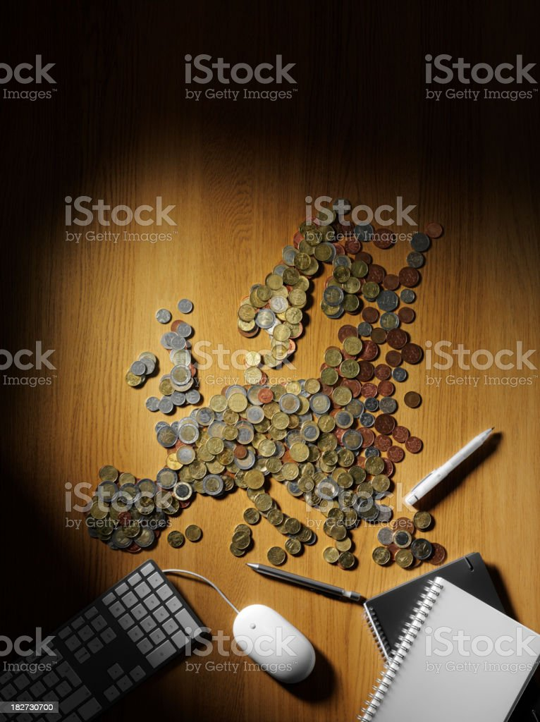Map of Europe made in Euros stock photo