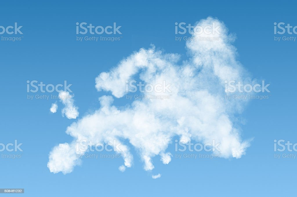 map of Europe made of white clouds on sky stock photo