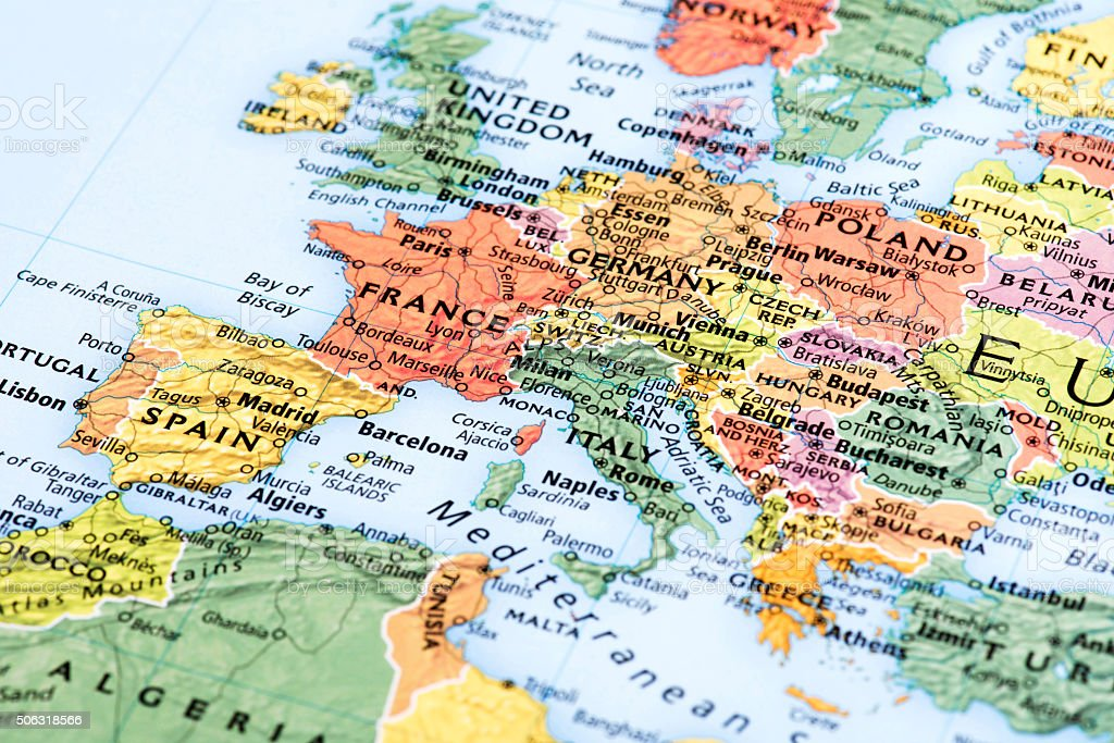 Map of Europe stock photo