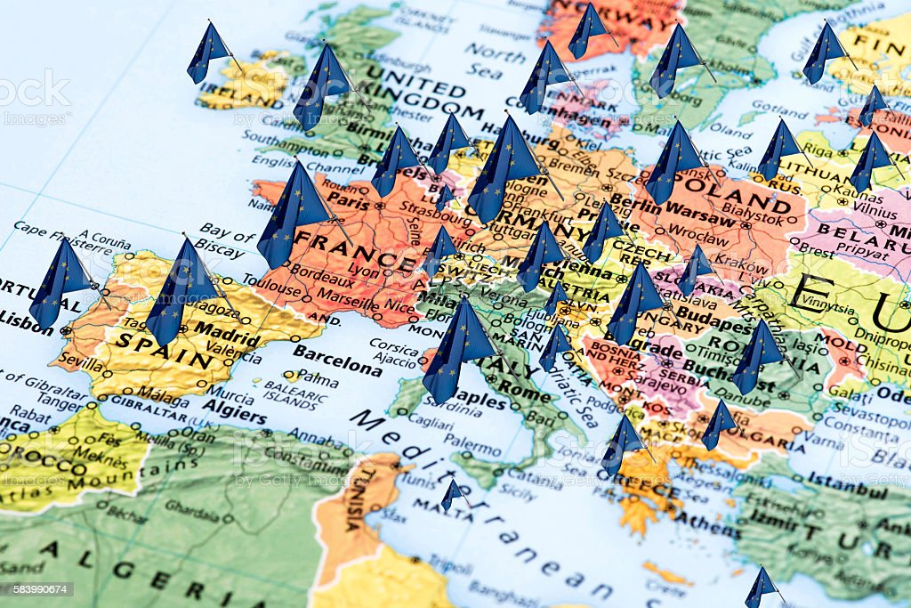 Map of Europe with European Union Flags stock photo