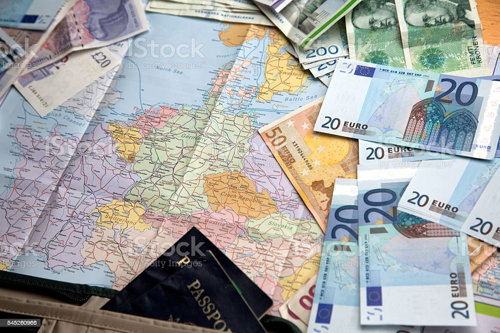 Map Of European Countries And Currency stock photo