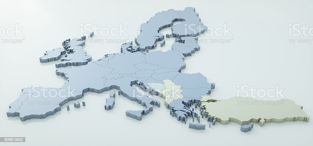 map of European Union - very high detail - 3d stock photo