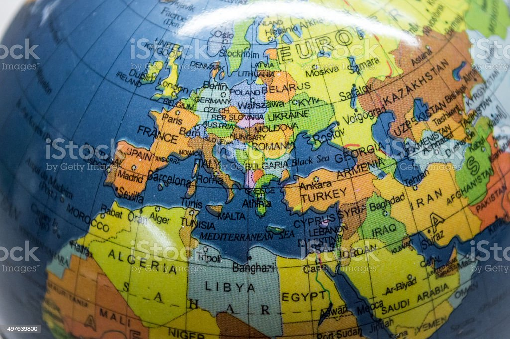 Map of Europe/North Africa/Middle East on a Globe royalty-free stock photo