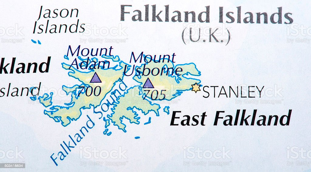 Map of Falkland Islands (U.K.) stock photo