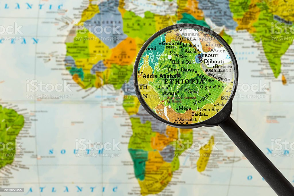 Map of Federal Democratic Republic of Ethiopia stock photo