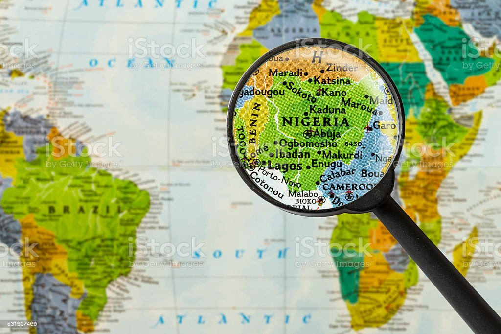 Map of Federal Republic of Nigeria stock photo