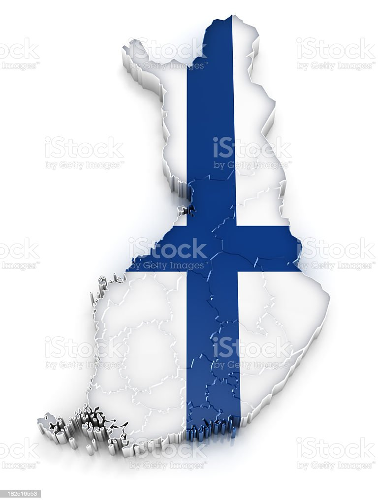 A map of Finland with the design of their flag stock photo