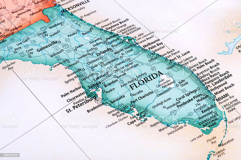 Map of Florida State in USA stock photo