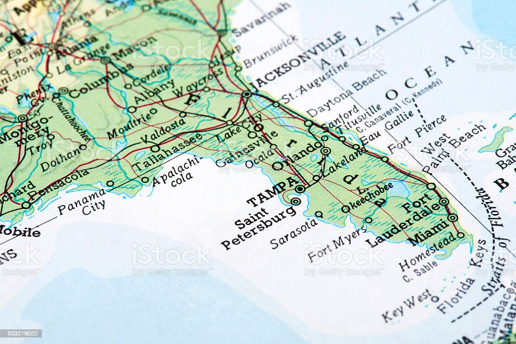 Map of Florida, USA stock photo