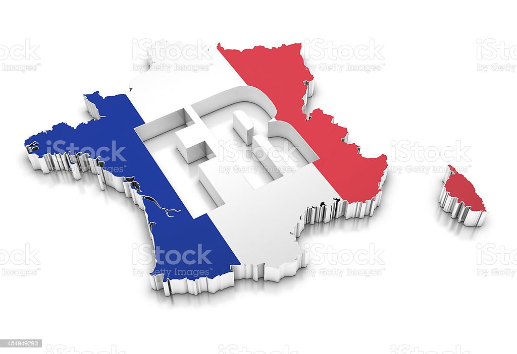 3D map of France royalty-free stock photo