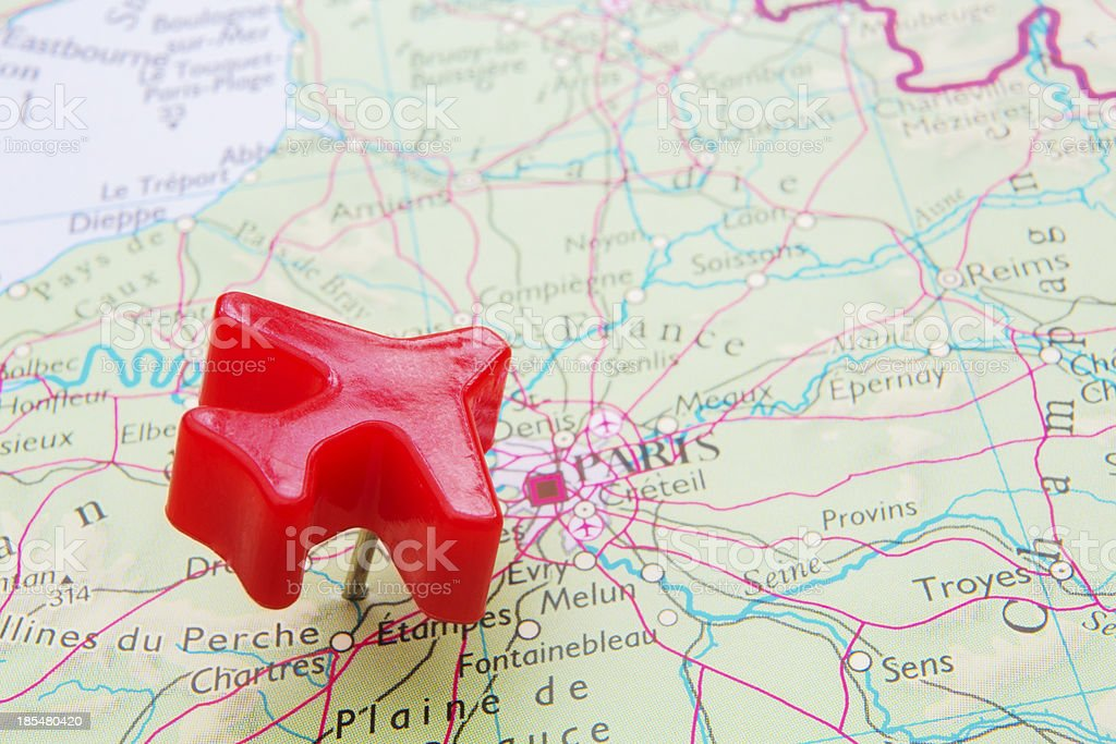 Map Of France With Model Plane Over Paris royalty-free stock photo