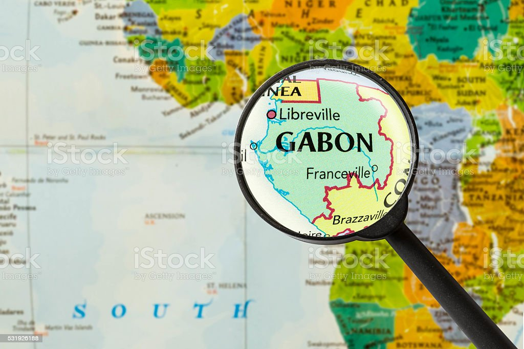 Map of Gabonese Republic stock photo