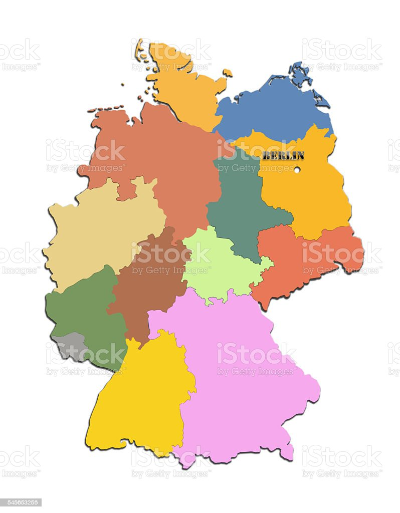 map of Germany with regions stock photo