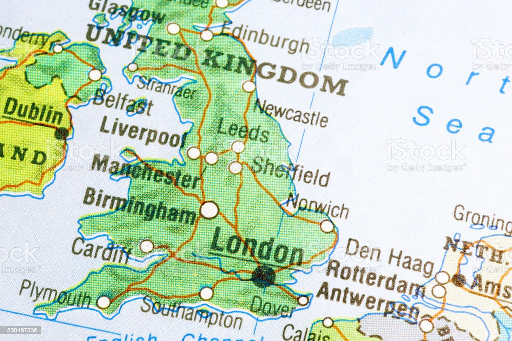 Map of Great Britain stock photo